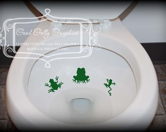 Toilet decal, potty training sticker, Taking Aim toilet targets 6 piece frog collection