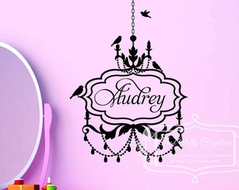 Personalized chandelier decal with birds vinyl wall decal