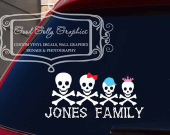 Skull family car decal