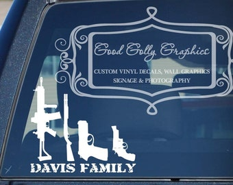 Gun family car decal