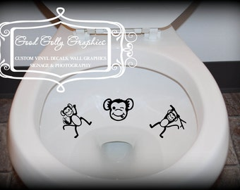Taking Aim toilet targets: SIX piece collection of MONKEYS
