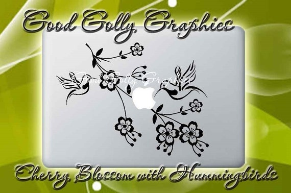 Cherry blossom branch with hummingbirds vinyl decal