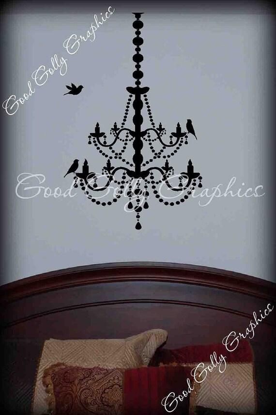 Elegant chandelier vinyl decal with seperate bird decals