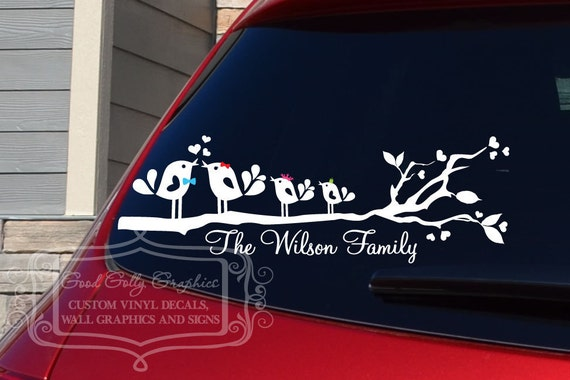 Love bird family on a branch vinyl vehicle decal