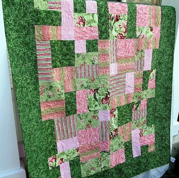 Wild Iris Pink and Green Quilt