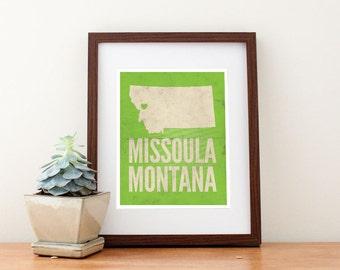 Missoula, Montana Love Map Art Print