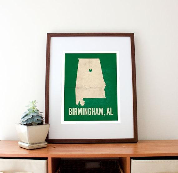 Birmingham, Alabama Love Personalized State Map