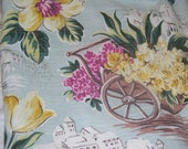 Vintage Barkcloth Green Tropical Flower Cart  Fabric Drapery Valance