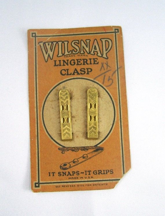 Antique Wilsnap Lingerie Clasps Clips On Original Card