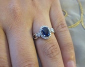 Reserved for (Josie)Oval shape sapphire & round diamonds set on 14K white gold ring