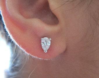 Platinum Pear shape diamond studs