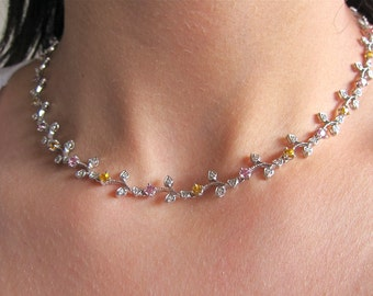 14K White Gold Flower Necklace with diamonds, yellow sapphires, pink sapphires.