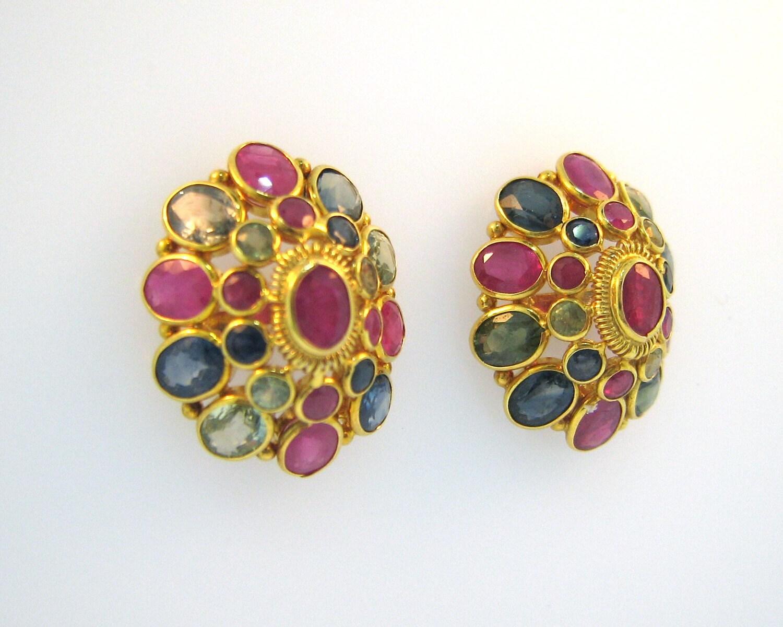 Multi color sapphire earrings in 21k