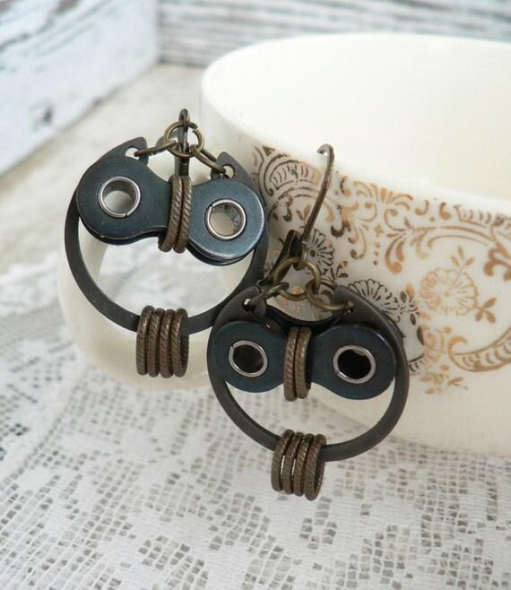 Owl Earrings Bronze & Black Steel Bicycle Chain Hardware