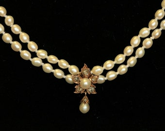 Victorian Rose Cut Diamond and Pearl Flower Necklace. Perfect for Bridal Jewelry