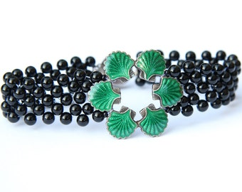 Hand Woven Green Enamel Sea Shell Bracelet with Black Onyx Beads