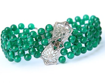 Hand Woven Art Deco Green Onyx Filigree Bracelet.