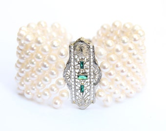 Hand Woven Pearl Cuff Bracelet with Art Deco Filigree Centerpiece. Perfect for Bridal Jewelery.