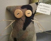 """Plush Cat Donation to Blind Cat Rescue - Ready to Ship - Original Edition - Primitive - One of a Kind - Kittie Whiskers """"Tremayne"""""""