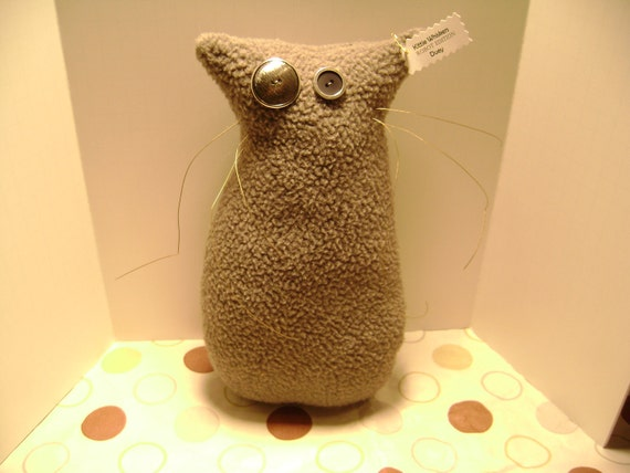 "RESERVED for DOCK ENN - Plush Cat Donation to Blind Cat Rescue - Robot Edition - Primitive - One of a Kind - Kittie Whiskers ""Duey"""