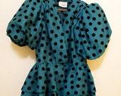 80's Vintage Velvet Polka Dot Pouff Sleeve Evening Jacket/Top