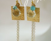 PARKER gold plated hammered square earrings with quartz and turquoise and sterling silver chain