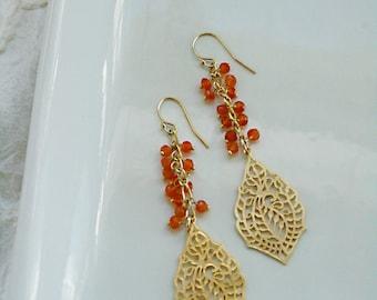 JAMES orange carnelian cluster dangle from paisley pendant earrings