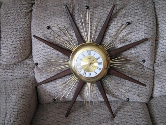 Mid Century Sunburst Starburst United Clock