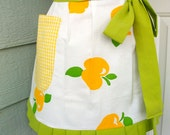 Up-Cycled Half Apron - Yellow Apples with Green Ruffle