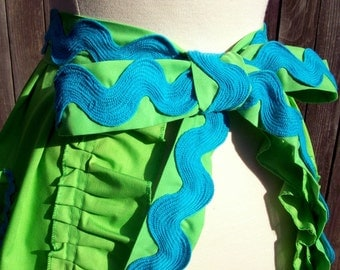 Upcycled Half Apron - Lime and Aqua Waves - OOAK