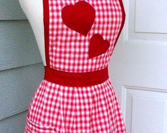 Up-cycled Valentine's Apron - Red Gingham Heart Applique - 50's Style