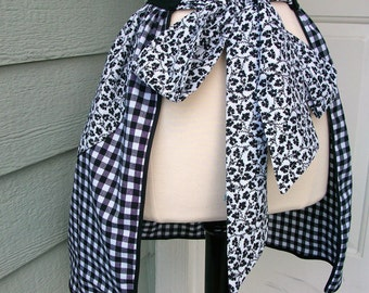 Up-Cycled Half Apron - 50's Style B&W Gingham and Floral
