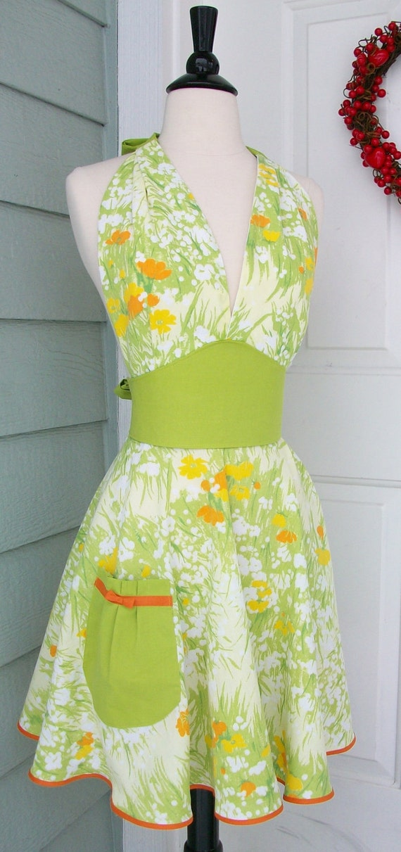 Up-Cycled Women's Apron- Orange & Yellow Flowers on Lime Green