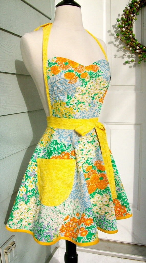 Up-Cycled Women's Apron- Vintage Orange and Blue Flower Print