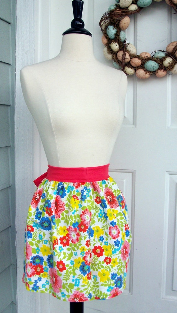 Up-Cycled Half Apron Plus Size - Floral Canvas and Salmon