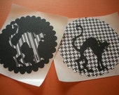 Set of 2 Halloween Cat Stickers in Mod Black and White Patterns Large Scaredy Cat