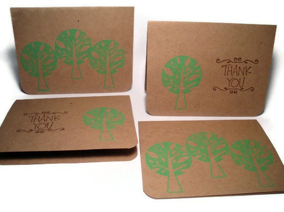 Recycled Card Set, 4 Note Cards, Eco Friendly, Recycled, Hand Stamped Green Tree, Thank You