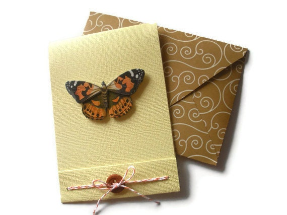 Monarch Greeting Card, Butterfly, Blank, Yellow, Brown,  Handmade Envelope