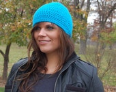 Turquoise Slouchy Beanie Hat, Winter Accessories from Midwest Crochet