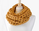 Honey Gold Oversized Fall Scarf, Wool Blend Wide  Crocheted Infinity Scarf,  Winter Accessories READY TO SHIP