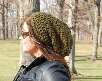 Handmade  Olive Green Brimless Chunky Slouchy Hat, Fall Fashion Accessories