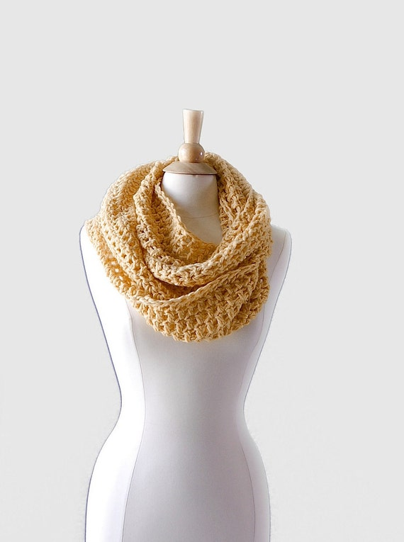 Banana Cream Infinity Scarf, Super Soft Merino Baby Alpaca Blend Scarf from Midwest Crochet