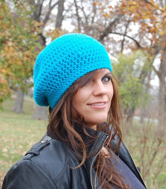 Turquoise Blue Beanie Hat, Fashion Accessories from Midwest Crochet