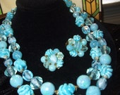 Double Strand Necklace and Earrings signed Germany with Glass & Lucite beads in Varigated Aqua Think Spring