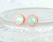 Mint peach stud earrings - coral beach wedding bridesmaid earrings bridal jewelry - unique swarovski mint delicate earrings gift for her