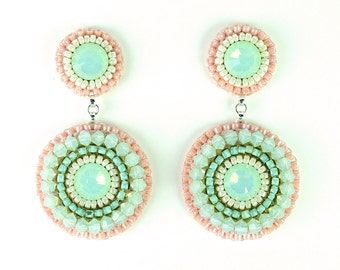 Mint earrings - mint peach coral chandelier earrings - bridal beach wedding drop earrings bridesmaid statement jewelry unique gift for her