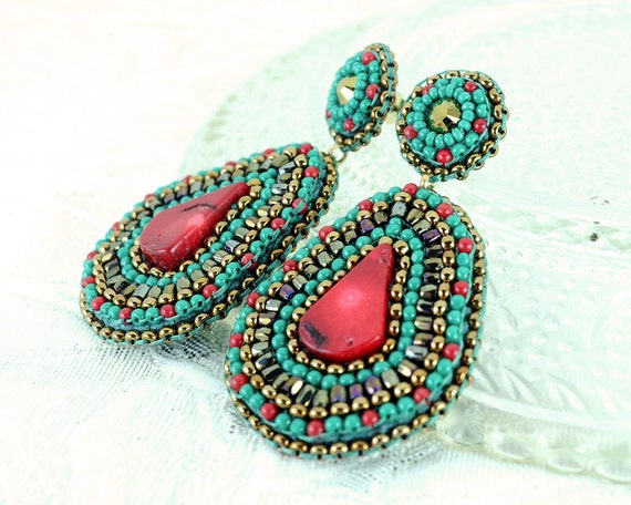 Tribal gold coral turquoise statement earrings red dangle earrings chandelier stud - spring cocktail swarovski crystal jewelry unique gift