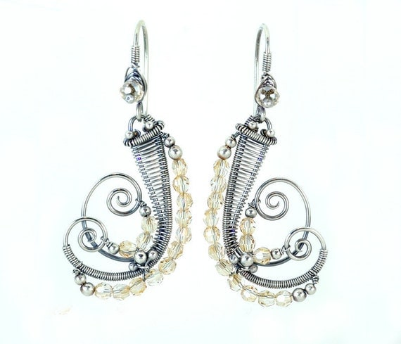 Bridal silver dangle earrings - silver spiral earrings with tan beige swarovski crystals - wedding jewelry unique gift for her