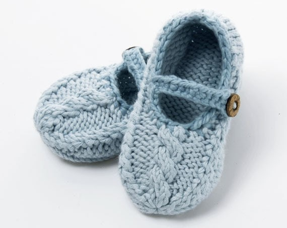 PDF Knitting Pattern for Mary Jane Cable Slippers 0 18