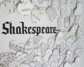 100 Vintage Shakespeare Wedding Confetti -  vintage book confetti . paper heart confetti . vintage wedding decor